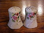 Hand painted salt and pepper shakers, blue bird & roses