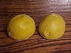 Old chalkware salt and pepper shakers, lemons