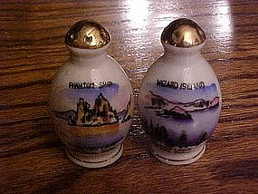 Souvenir  shakers from Crater Lake, hand painted