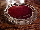 Murano style glass ashtray, red