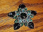 Large vintage  rhinestone star pin, multi blue colors