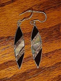 Long, hand crafted sterling, onyx and abalone earrings
