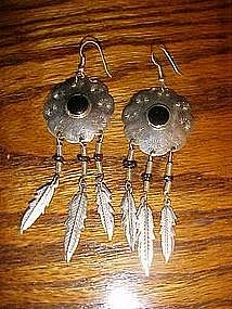 Sterling silver and onyx Native American earrings