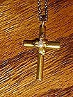 Gold cross with real pearls