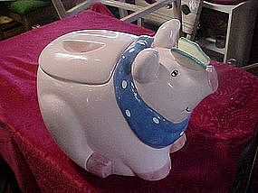 Pig with butterfly on his nose, cookie jar