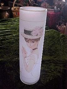 Enesco satin vase with portrait of a lady