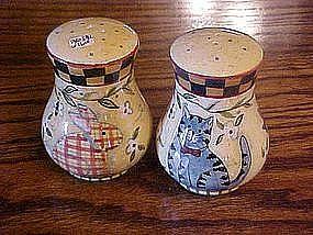 Salt & pepper shakers, bunny, beehive, cat, & bluebirds