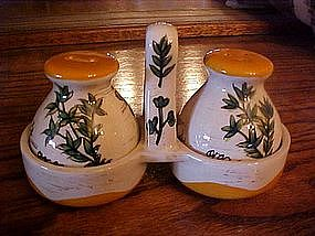 Hand painted ceramic shakers with hand painted spices