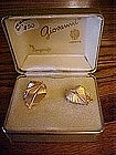 Giovanni goldtone leaf earrings in original box