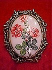 Hand painted china pin, Roses