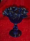 Fenton blue colonial thumbprint ruffled compote