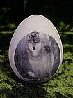 Womack's Collectible porcelain egg with timber wolf