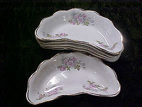 Dresden roses, crescent,bone dishes, set of six