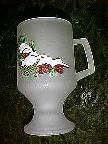 Tiara hostess gift, frosted pedestal mug w/ pine cones
