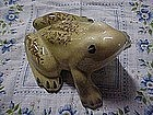 Vintage hand painted ceramic / pottery frog figurine