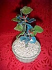 Mini hand made glass bonsai style flower in pot