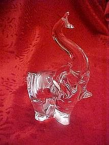 Hand blown crystal clear glass elephant paperweight