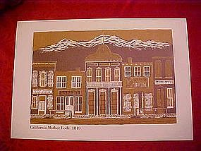 """Old town print of """"The California Mother Lode"""" 1849"""