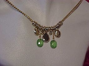 Vintage Monet peridot green ,& opaline necklace