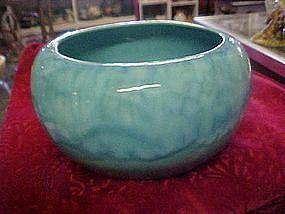 Turquoise drip  glaze bowl, signed Louve'