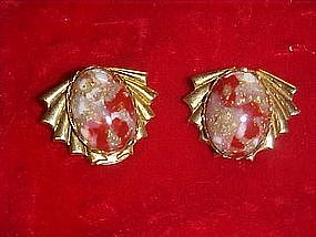 Clip earrings with  agate stones