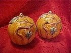 Hand painted pumpkins on vine, salt and pepper shakers