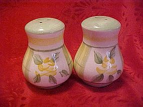 Hand painted yellow roses & plaid shakers