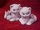 Porcelain persian kitten shakers with pink  roses