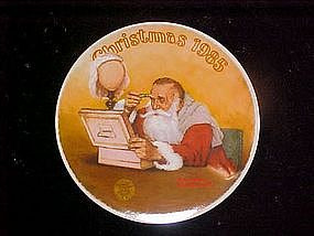 Grandpa plays Santa, Rockwell Christmas 1985 plate