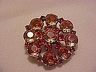 Large Peach and orange  rhinestone pin