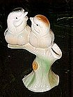 Vintage 1940's glazed pottery, birds on a limb vase