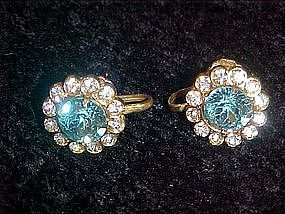 Coro blue topaz color rhinestone earrings, screw backs