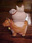 Cow, with hen and sheep salt and pepper shakers