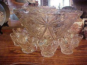 EAPC Early American Press Cut punch bowl w/ 7 cups