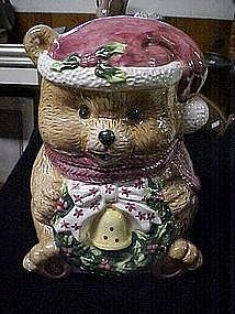 Ceramic Santa bear cookie jar,
