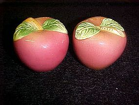 Red apples, ceramic salt and pepper shakers
