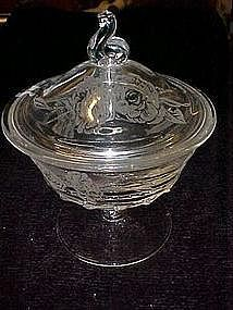 Fostoria Camellia pedestal candy dish with lid