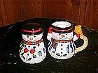 Christmas snowman creamer & sugar, Carson ceramics