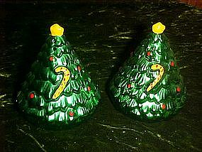 Ceramic Christmas tree salt and pepper shakers, metalic