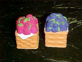 Baskets of berries, salt & pepper shakers