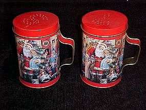 Santa and the children, tin salt and pepper shakers