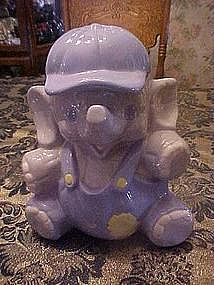 Elephant baby boy in cap, cookie jar