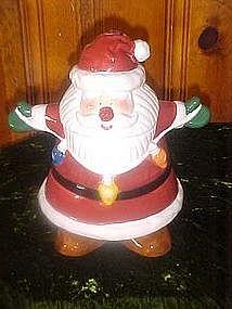 Santa Claus with Christmas lights, cookie jar