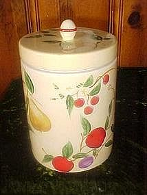 Hand painted fruit cookie jar cylinder