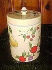 Hand painted fruit cookie jar cylinder