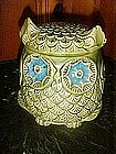 Retro 70's green owl cookie jar with blue eyes