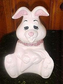 Doranne silly rabbit cookie jar, pink scarf