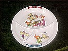 Large Flintstones divided plate, America's First Family