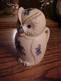 Delft look, figural owl creamer