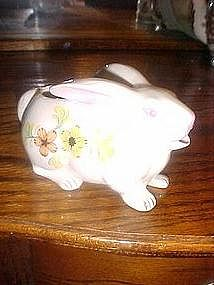 Rabbit cream pitcher, ceramic with flowers